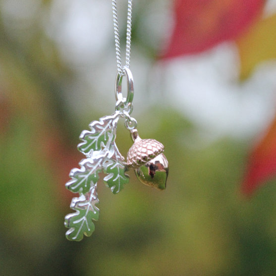 Silver & Rose Gold Acorn and Leaf Pendant