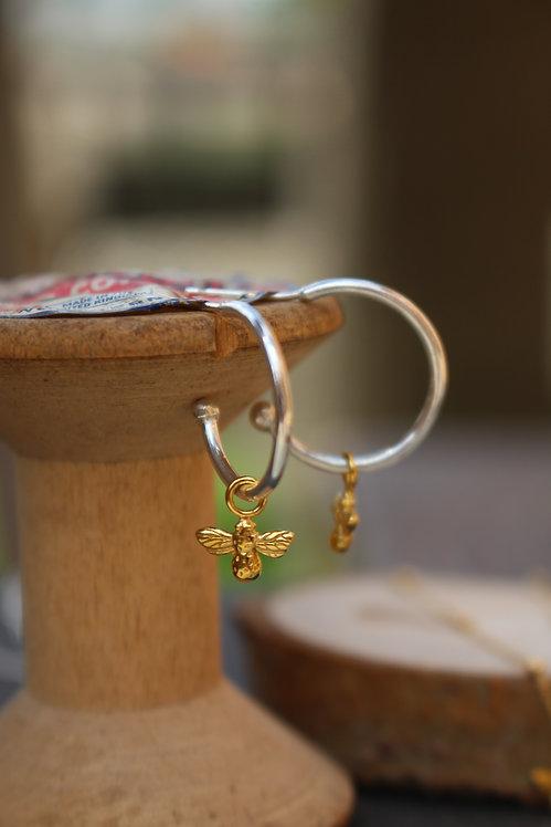 Silver & Gold Bee Hoop Earrings
