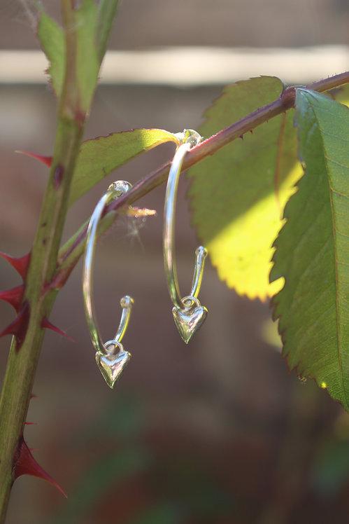 Silver Heart Large Hoop Earrings