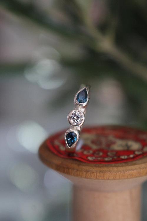 Silver Blue Topaz 3 Stone Pear Ring