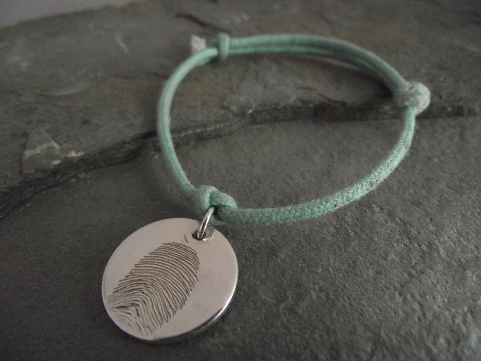 Real Fingerprint Disc Charm Bracelet