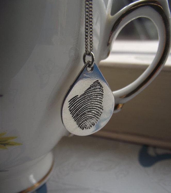 Silver Real Fingerprint Teardrop Pendant