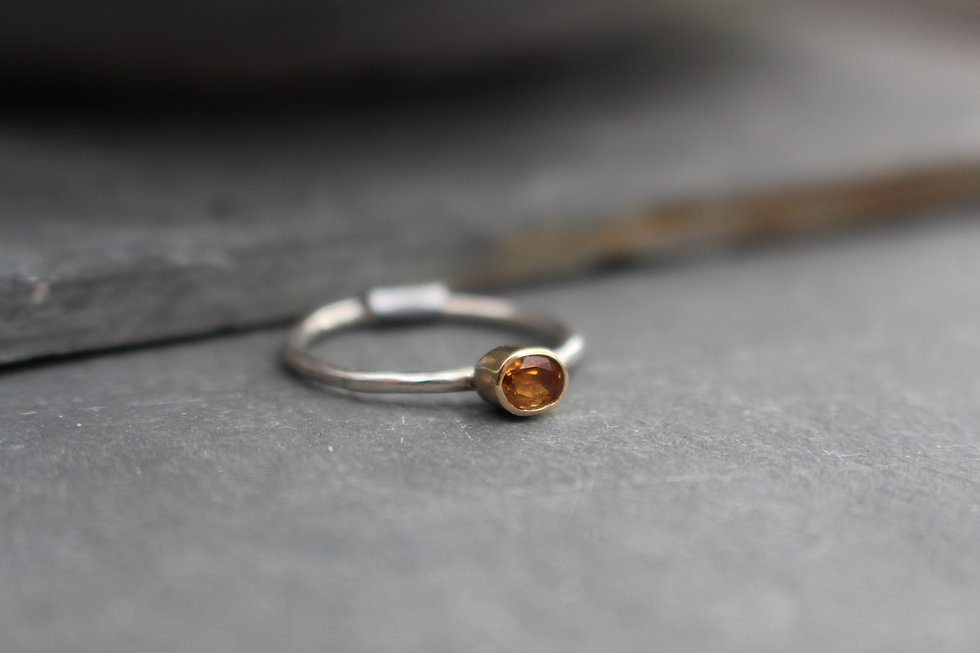 Silver & Gold Topaz Ring