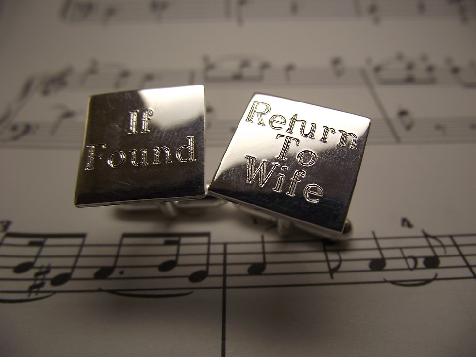 Silver Square Cufflinks with Personal Message