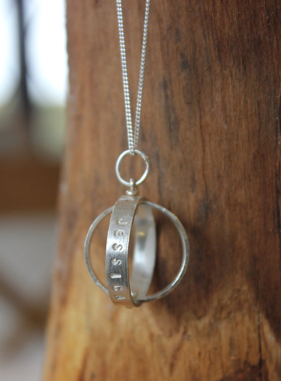 Silver Spinning Names Pendant