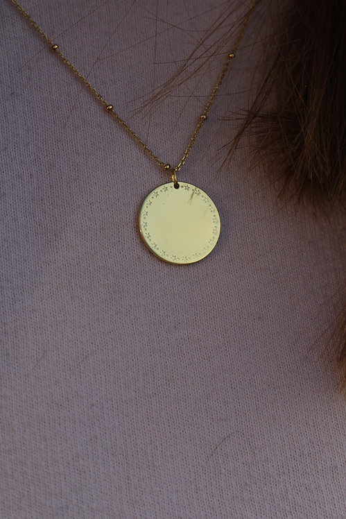 Gold Disc with Stars Necklace