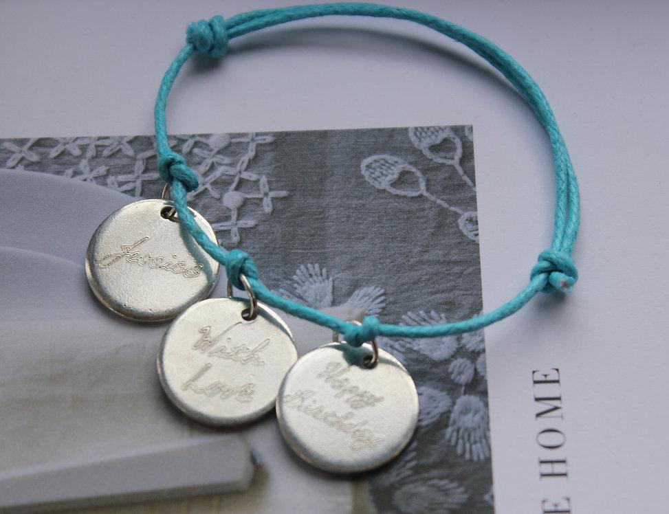 Personalised 3 Disc Charm Bracelet