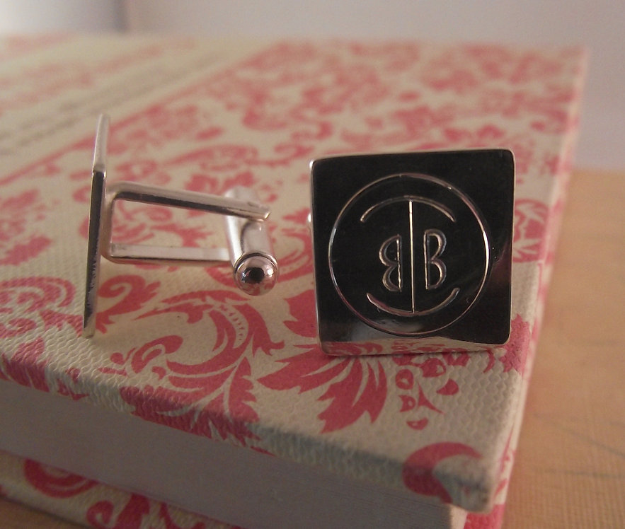 Silver Square Cufflinks with Personal Monogram