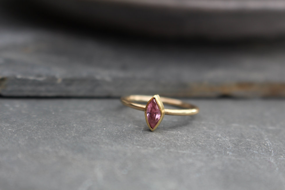Yellow Gold Marquise Pink Topaz Ring
