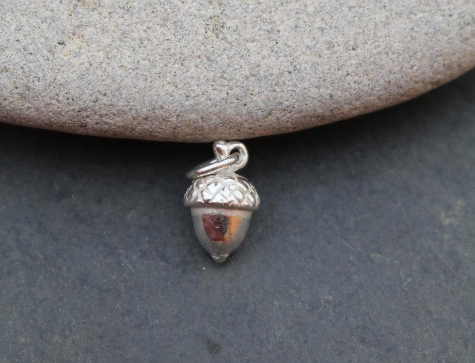 Silver Acorn Charm