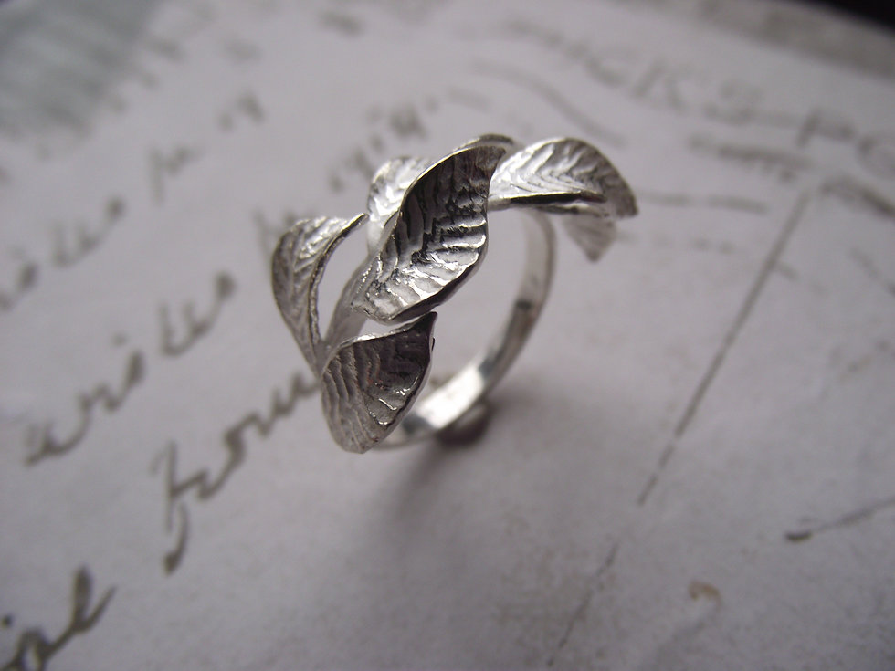 Silver Leaf Secret Garden Ring