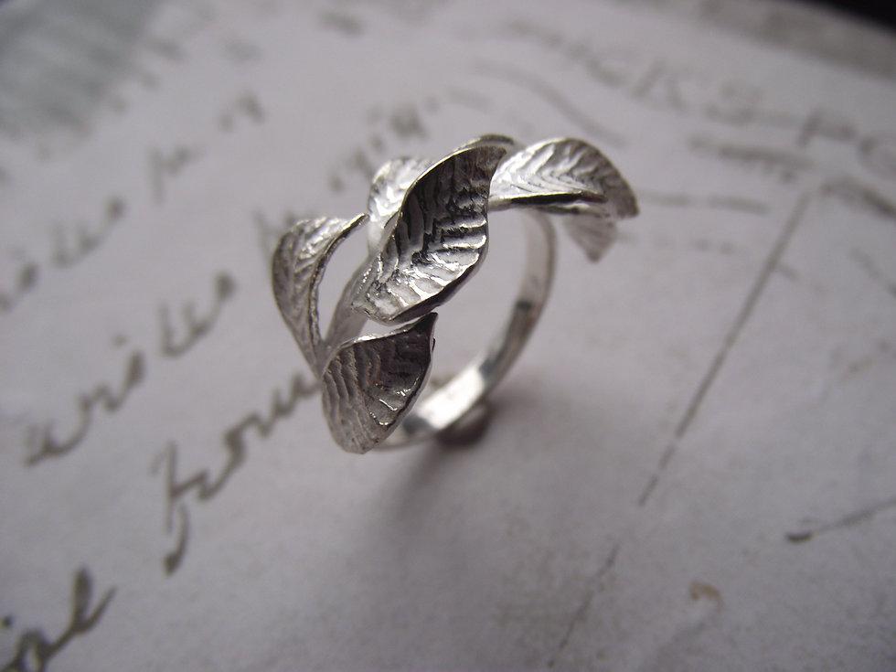 Silver Leaf Secret Garden Ring