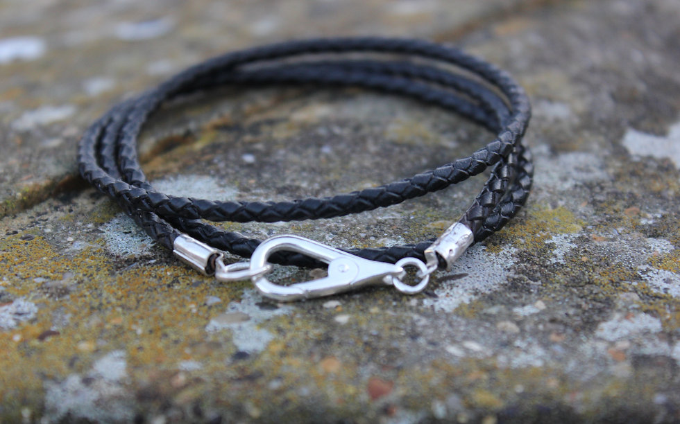 Silver Mens Wrap Rope Leather Bracelet