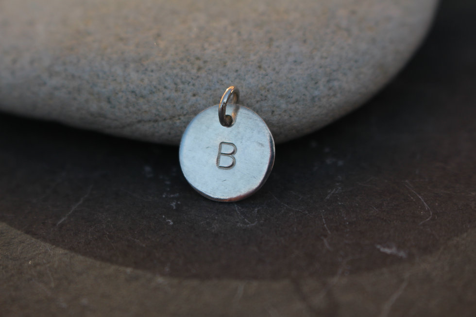 Silver Letter Disc Charm