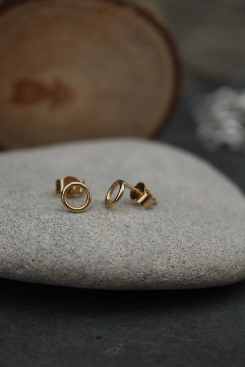 Gold Halo Circle Stud Earrings