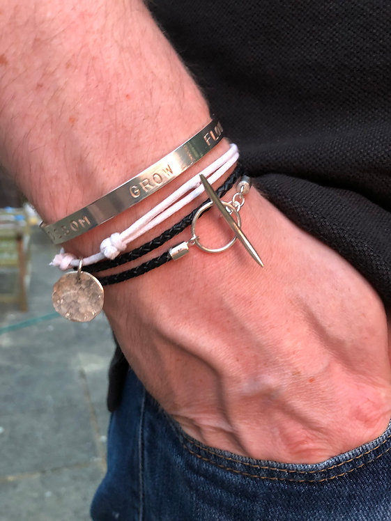 Silver Mens Wrap Leather Bracelet