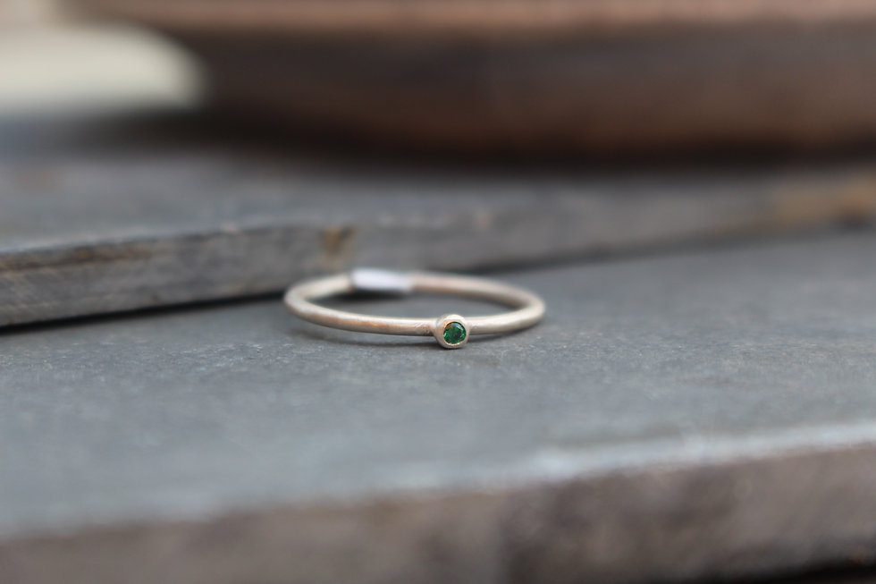 Silver Tiny Green Stone Ring