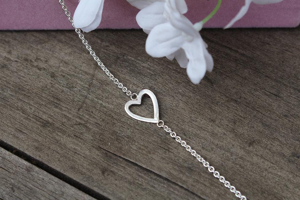 Silver Falling Hearts Bracelet