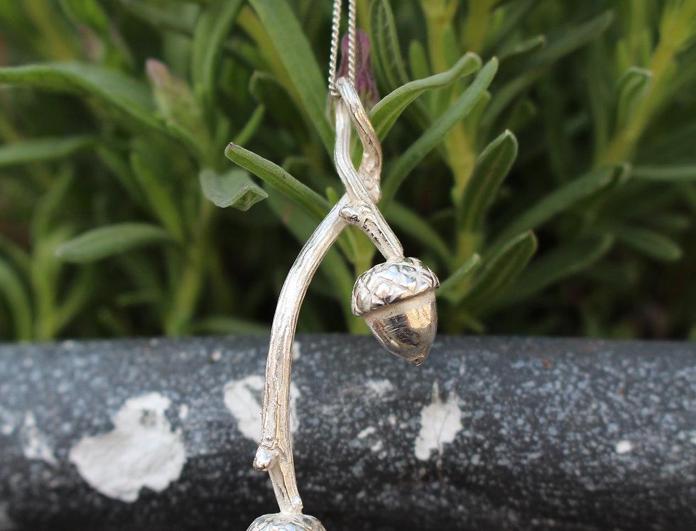 Silver Double Acorn Pendant