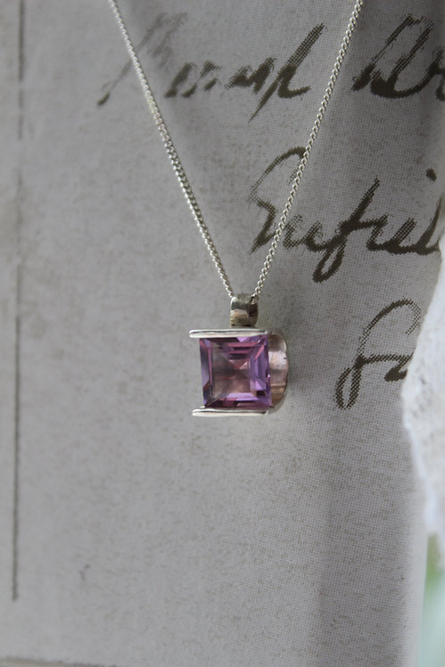 Amethyst Tension Set Pendant