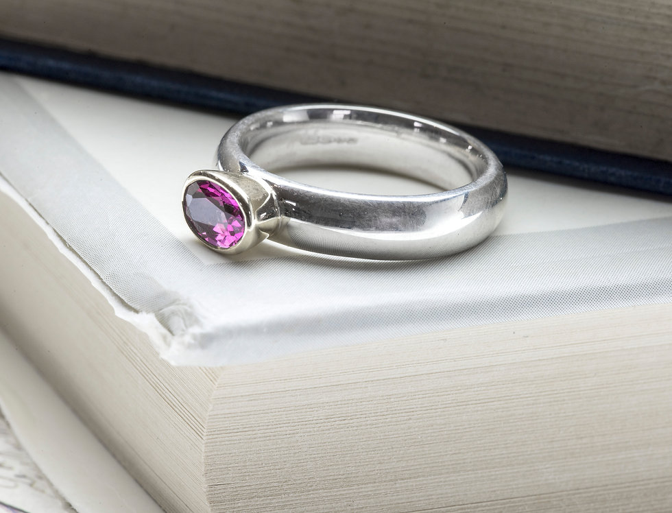 Silver & 9ct Yellow Gold Pink Topaz Ring