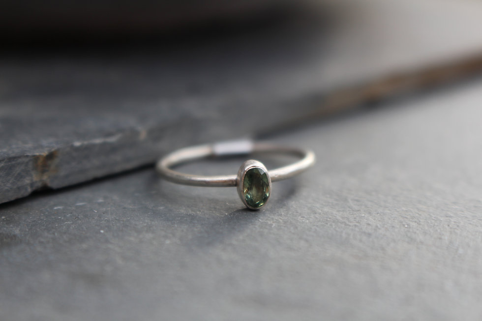 Silver Oval Green Amethyst Ring