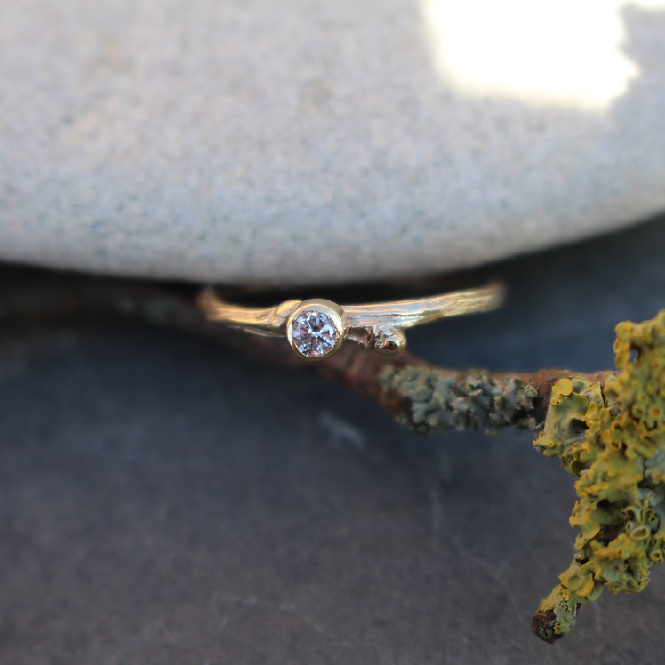 Solid Gold Tiny Diamond Twig Ring