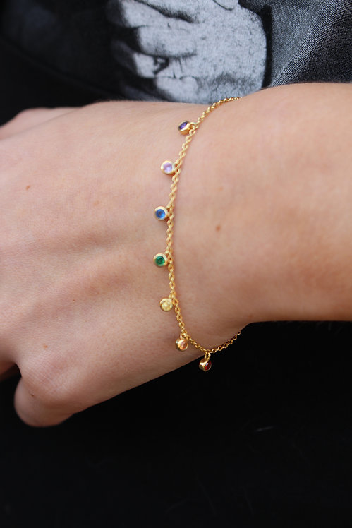 Rainbow Dot Chain Bracelet