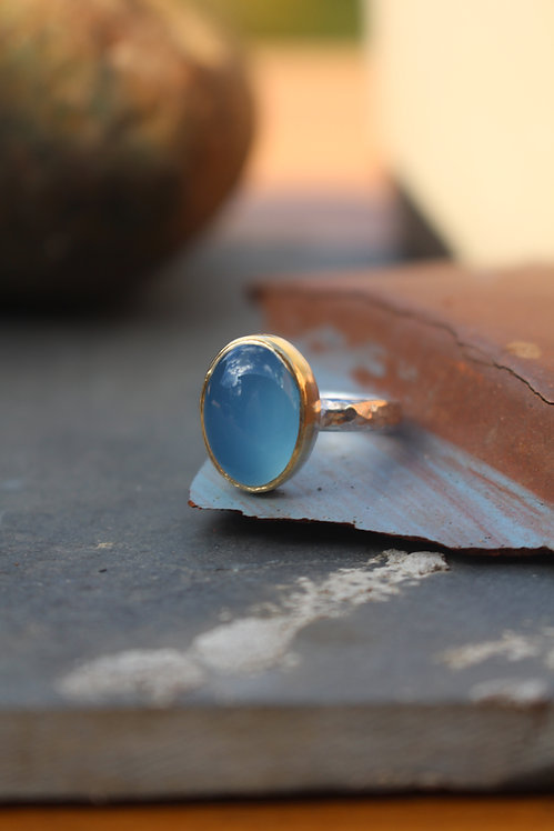 Silver & Gold Oval Chalcedony Endless Summer Ring