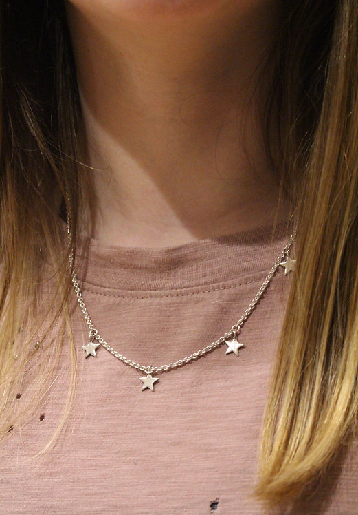 Silver 5 Star Necklace