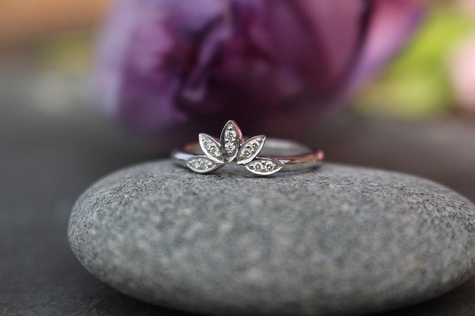 White Gold Diamond Lotus Flower Ring