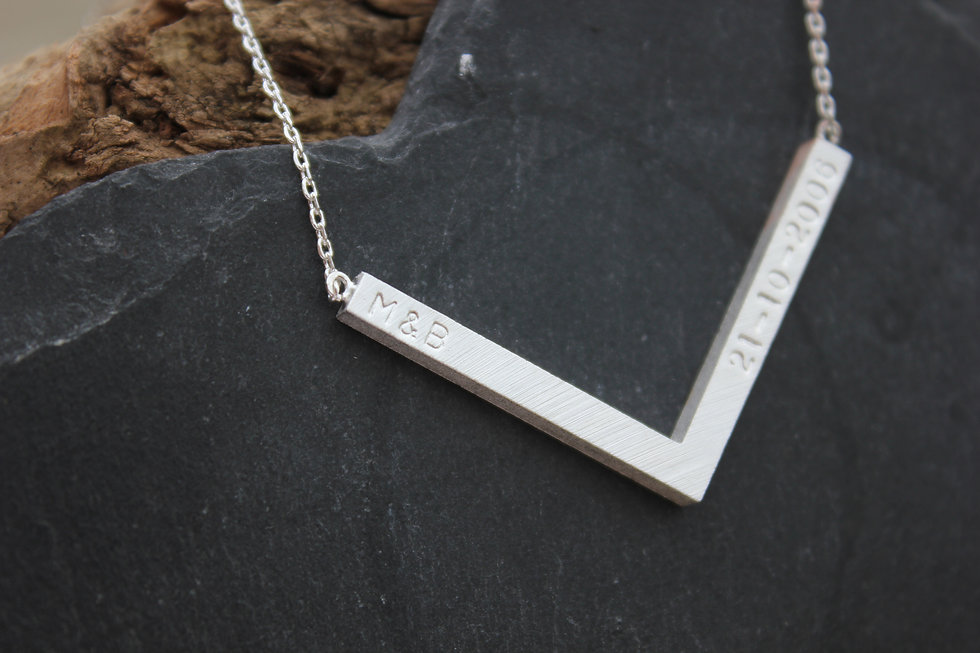 Personalised Silver Chevron Name Necklace