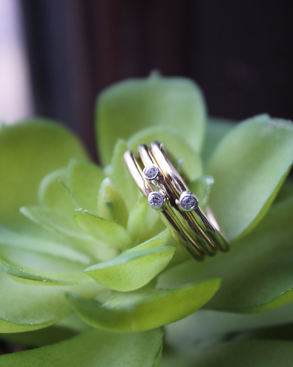 Gold Single Stone Stackable Spacer Ring