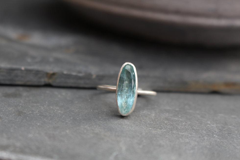 Silver Oblong Aquamarine Ring