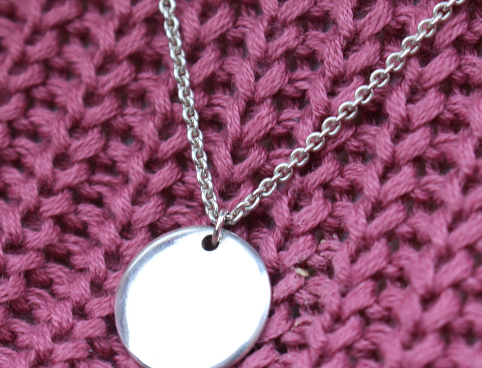 Silver Simple Disc Necklace