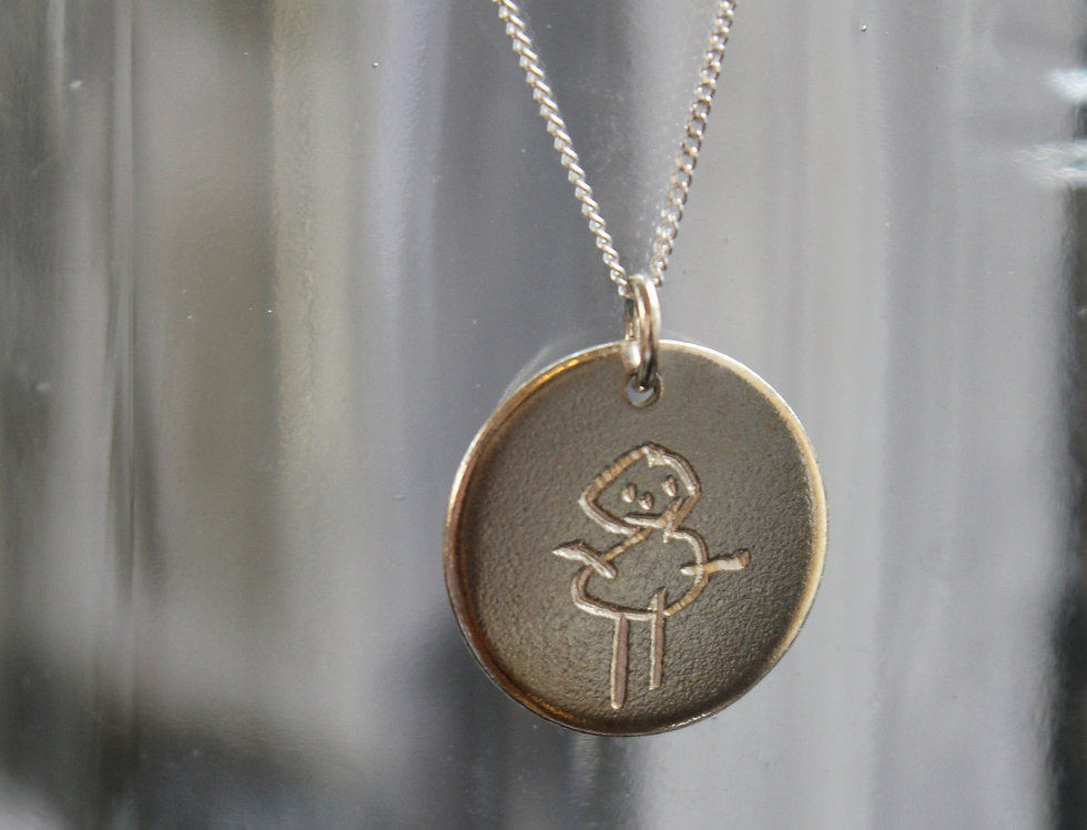 Silver Hand Engraved Little ones Pictures Pendant