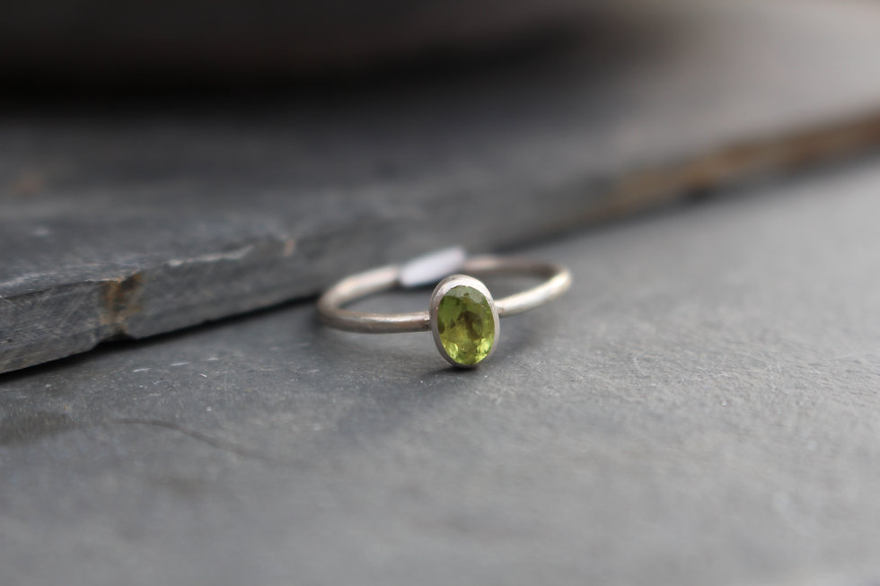 Silver Oval Peridot Ring