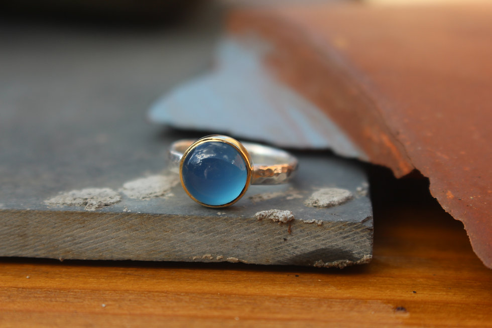 Silver & Gold Round Chalcedony Endless Summer Ring