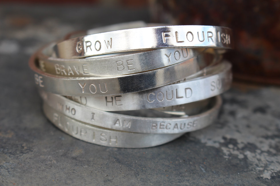 Silver Quote Full Bangle Thick
