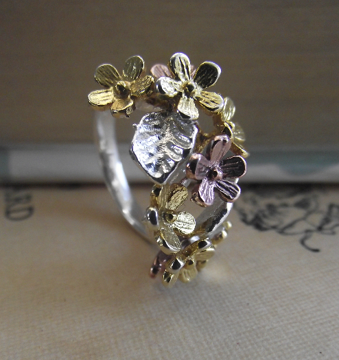 Silver, Rose & Yellow Gold  Vermeil Flower Ring