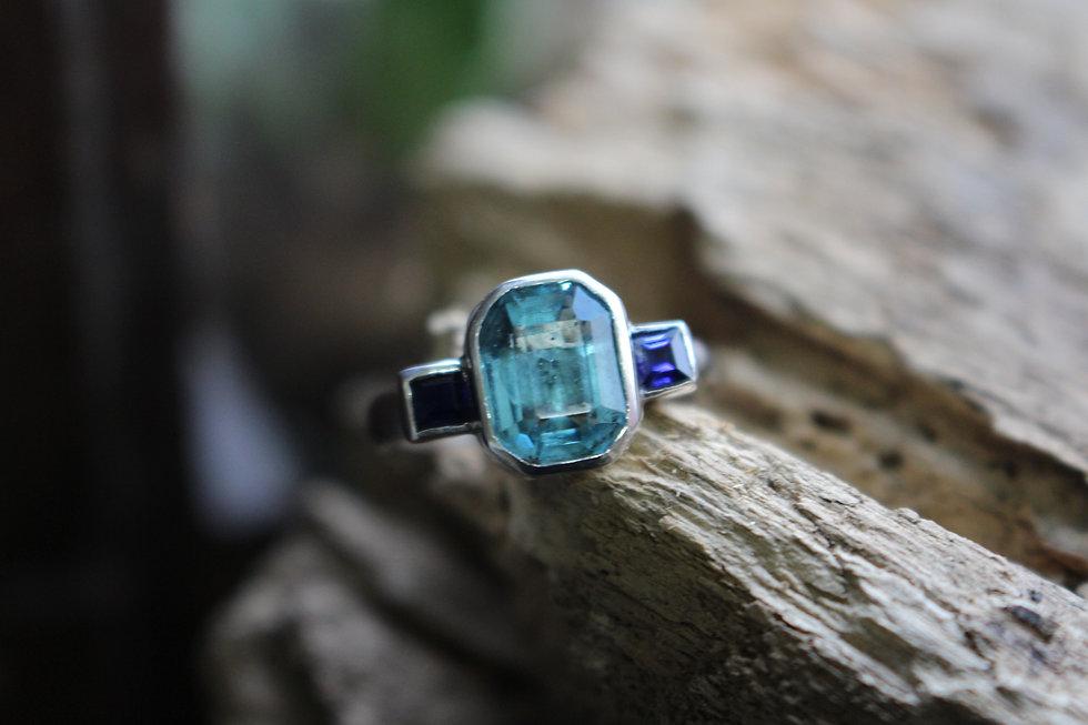 Blue Topaz & Sapphire Silver Ring
