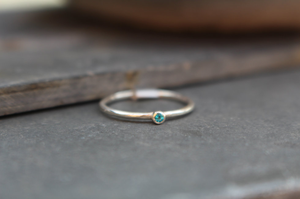 Silver Tiny Teal Stone Ring