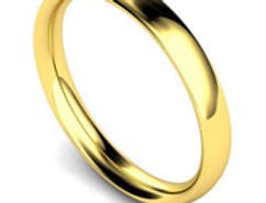 18ct Yellow Gold 3mm Traditional Court Wedding Band