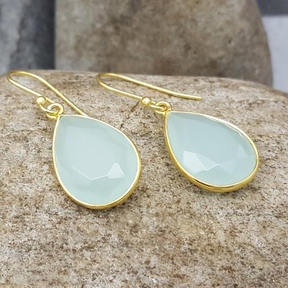 Gold Gemset Teardrop Earrings