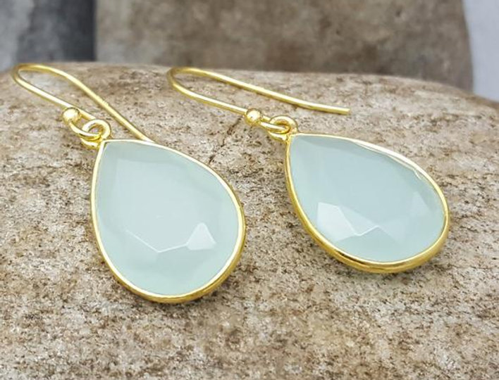 Gold Gemset Teardrop Earrings