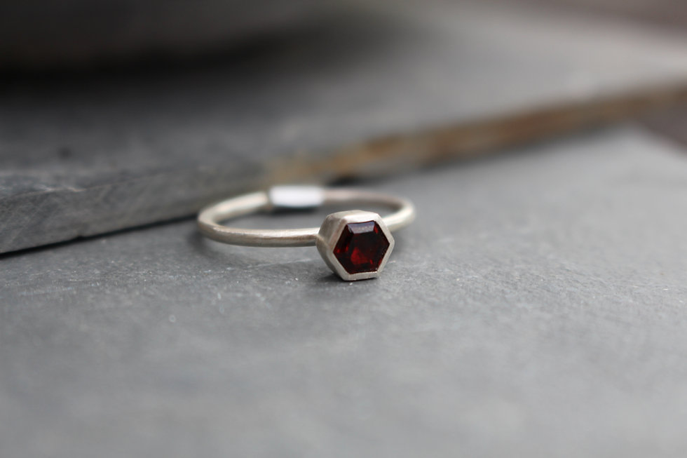 Silver Hexagon Garnet Ring