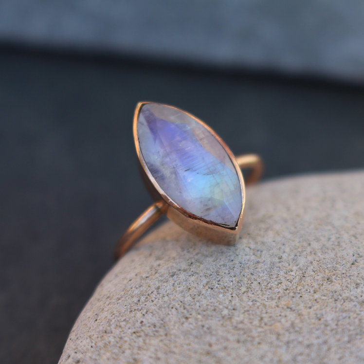 Solid Rose Gold Moonstone Ring
