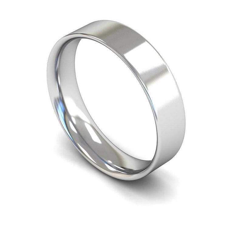 Platinum 5mm Flat Court Wedding Band