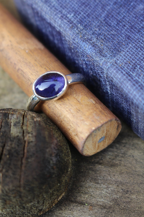 Silver Hammered Iolite Ring