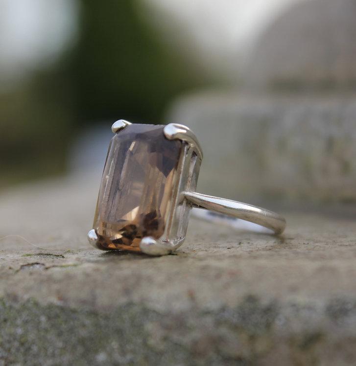 Silver Smokey Quartz Vintage Ring